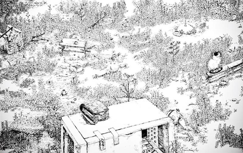 コヤマイッセー作「空き地の仙人(部分)」